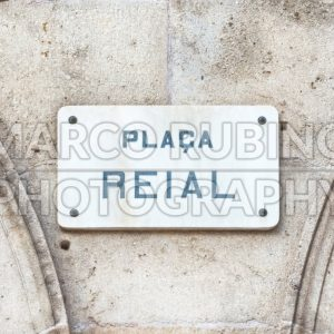 Street sign for Placa Reial, Barcelona, Catalonia, Spain
