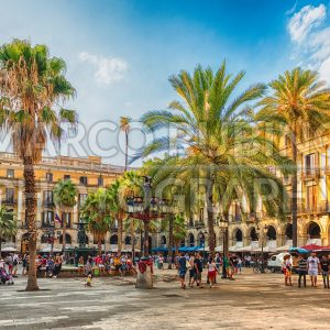 View of the scenic Placa Reial in Barcelona, Catalonia, Spain