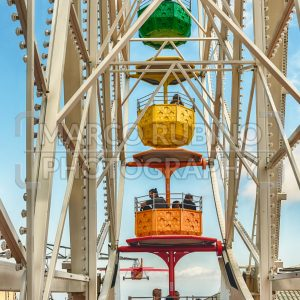Vintage ferris wheel at Tibidabo Amusement Park, Barcelona, Catalonia, Spain
