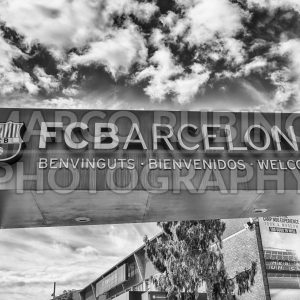 Welcome signboard of FC Barcelona Tour and Museum, Catalonia, Spain