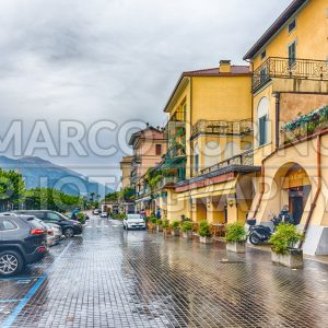 A rainy day in  Bellagio town, Lake Como, Italy