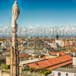 Aerial view from the roof of the Cathedral, Milan, Italy