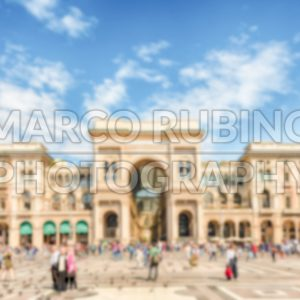 Defocused background of Galleria Vittorio Emanuele II in Milan, Italy