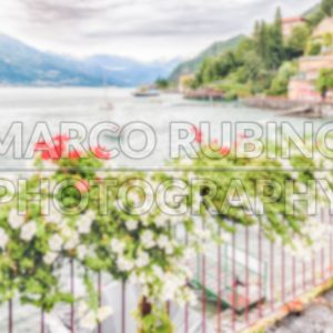 Defocused background of the picturesque village of Varenna, Italy