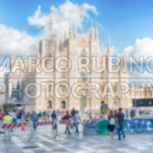 Defocused background with the gothic Milan Cathedral, Italy