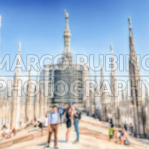 Defocused background with the roof terrace of Milan's Cathedral, Italy