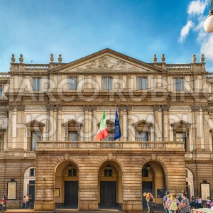 Facade of La Scala opera house in Milan, Italy