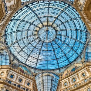 Glass dome of the Galleria Vittorio Emanuele II, Milan, Italy
