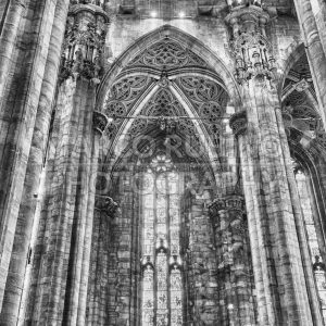 Interior design of the gothic Cathedral of Milan, Italy