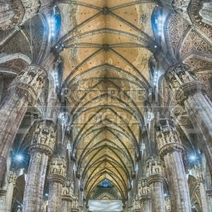 Panoramic view inside the gothic Cathedral of Milan, Italy