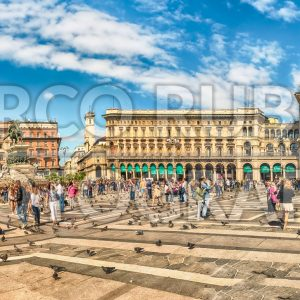 Panoramic view of Piazza Duomo, Milan, Italy