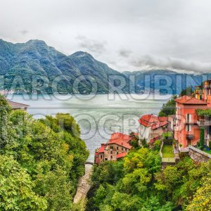 Panoramic view over the Lake Como from Bellano town, Italy