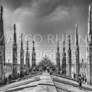 Roof terrace of the gothic Cathedral in Milan, Italy