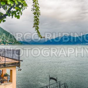 Scenic view over Lake Como from Varenna town, Italy