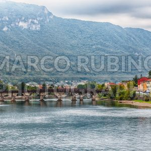 Scenic view over the Adda river in central Lecco, Italy
