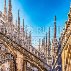 Spiers and statues on the gothic Cathedral of Milan, Italy