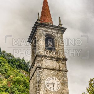 Tower of St. George's church in Varenna, Lake Como, Italy