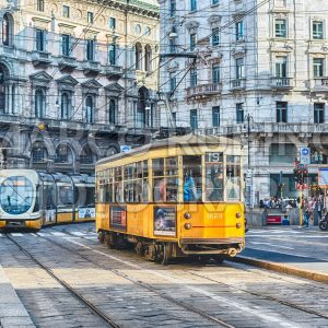 Trams operating in the city centre of Milan, Italy