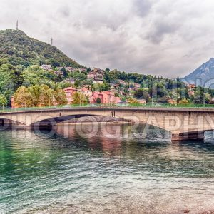 View over John Fitzgerald Kennedy Bridge in central Lecco, Italy