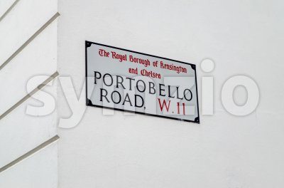 Portobello road sign in Notting Hill, London, UK Stock Photo