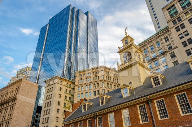 Mix of modern and ancient architecture in central Boston, USA Stock Photo