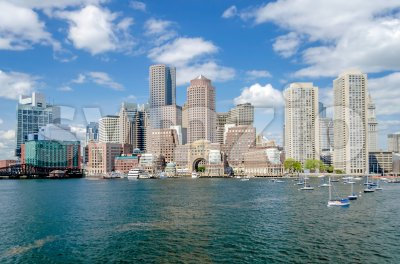 View of the Boston skyline from the bay, USA Stock Photo
