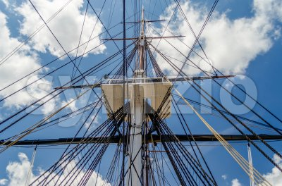 Ship mast of the USS Constitution frigate, Boston, USA Stock Photo