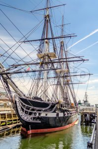 The USS Constitution frigate docked in the Boston Harbor, USA Stock Photo