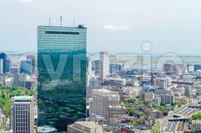 Aerial view of central Boston and John Hancock Tower, USA Stock Photo