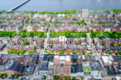 Aerial view of the Back Bay district, Boston, USA Stock Photo