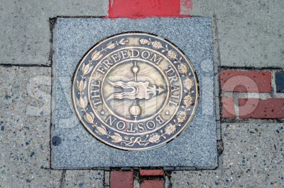 Freedom Trail sign in Boston, USA Stock Photo