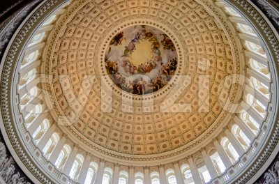 US Capitol Rotunda, detail of the interior decoration, Washington DC, USA Stock Photo