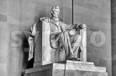 Abraham Lincoln monument inside Lincoln Memorial, Washington DC, USA Stock Photo