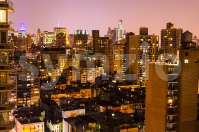 Aerial night view of Upper East Side, New York, USA Stock Photo