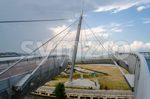 Bridge of the Sea, iconic landmark in Pescara, Italy Stock Photo