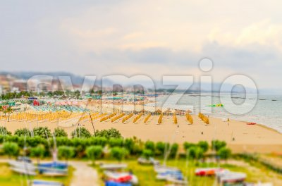 Waterfront of Pescara, Italy. Tilt-shift effect applied Stock Photo