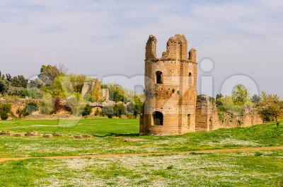 Ruins of the Circus of Maxentius, Rome, Italy Stock Photo