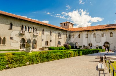 Inner Castle Courtyard of Castelvecchio, Verona, Italy Stock Photo