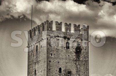 Detail of Castelvecchio Scaliger Castle in Verona, Italy Stock Photo