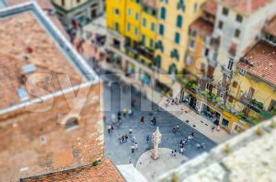 View over Piazza delle Erbe, Verona, Italy. Tilt-shift effect applied Stock Photo