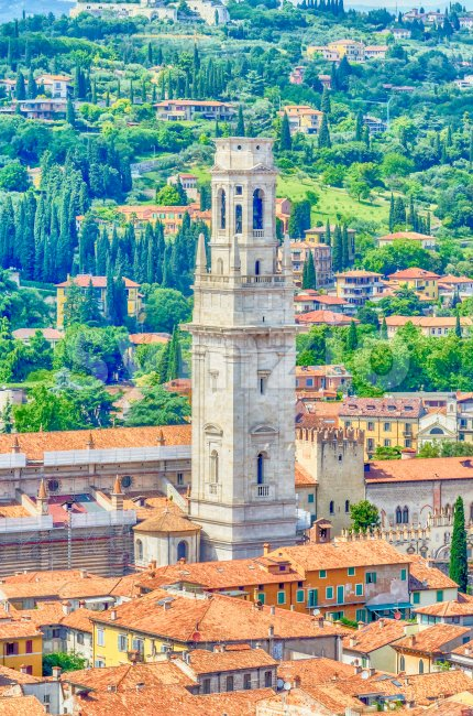 Aerial view of the tower of Verona Cathedral, Italy Stock Photo