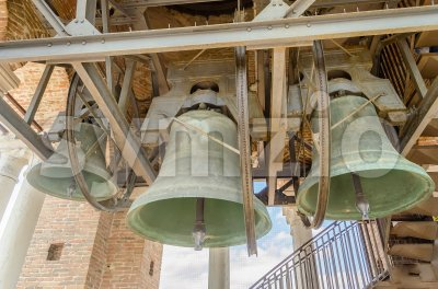 Group of tower bells in a medieval tower, Verona, Italy Stock Photo