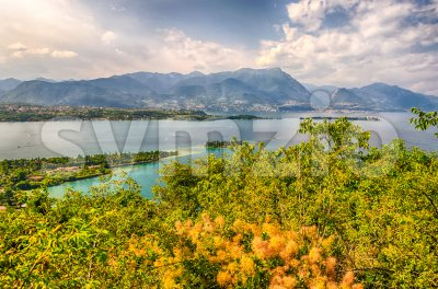 Aerial view from the Manerba Rock on Lake Garda, Italy Stock Photo