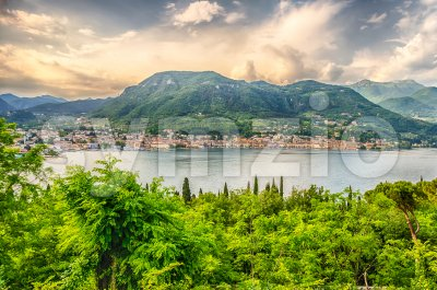 Aerial view over the Town of Salo, Lake Garda, Italy Stock Photo