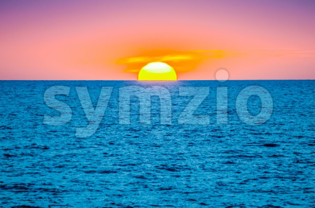 Sunset by the mediterranean sea, Italy Stock Photo