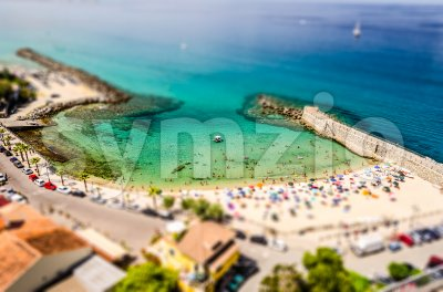 Aerial bird-view of Pizzo Calabro coastline, Italy. Tilt-shift effect applied Stock Photo