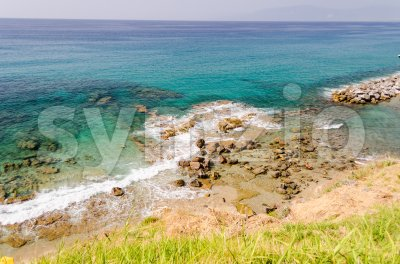 Aerial view of the beach in Pizzo Calabro coastline, Italy Stock Photo