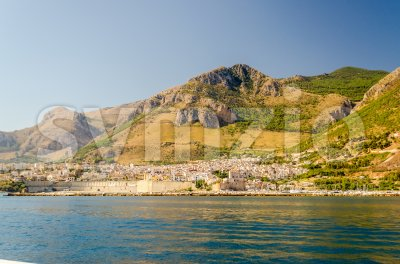 View from the sea of Castellammare del Golfo, Italy Stock Photo