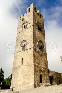 Bell tower of the Cathedral of Erice, Sicily, Italy Stock Photo