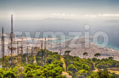 Aerial view over Trapani and Aegadian Islands, Sicily, Italy Stock Photo